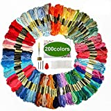 Friendship Bracelet String, ZOUTOG Premium Rainbow Color Embroidery Floss, 200 Color Set of Bracelet String with 22 Piece Embroidery Tool Kit
