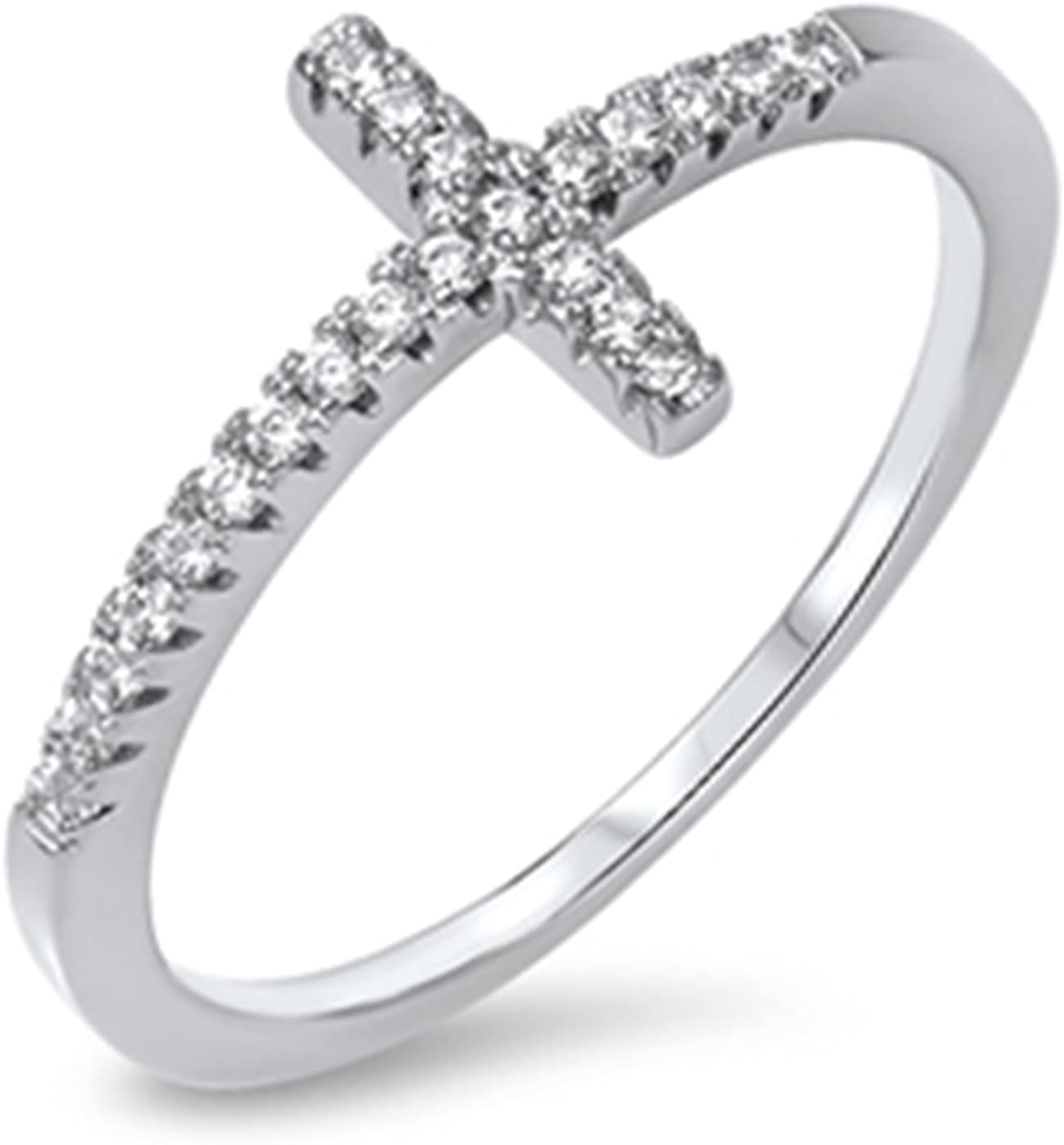Wedding Season Ranking TOP11 Import Limited time cheap sale Sideway Cross Womens Silver Sterling Ring