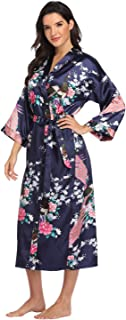Women's Floral Long Silk Kimono Robes Satin Dressing Gown Peacock Blossoms