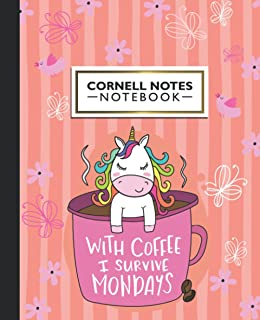 Cornell Notes Notebook: Blank Cornell Note Paper   With Coffee I Survive Mondays Unicorn Love   College Ruled Medium Lined...