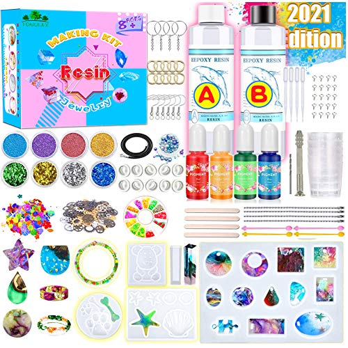 TONULAX Resin Kit for Beginners with 6 Large Silicone Molds -Resin Starter Kit with Pigments, Resin Jewelry Making Kit with Tons of Resin Art Craft Supplies, Resin Included