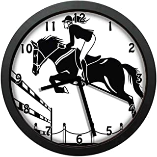 luckboy-zm Racing Horse with a Jockey Girl Jumping Above Barrier Barn Farming Print, White Charcoal Grey Wall Clock Nice for Gift or Office Home Unique Decorative Clock Wall Decor 12in with Frame