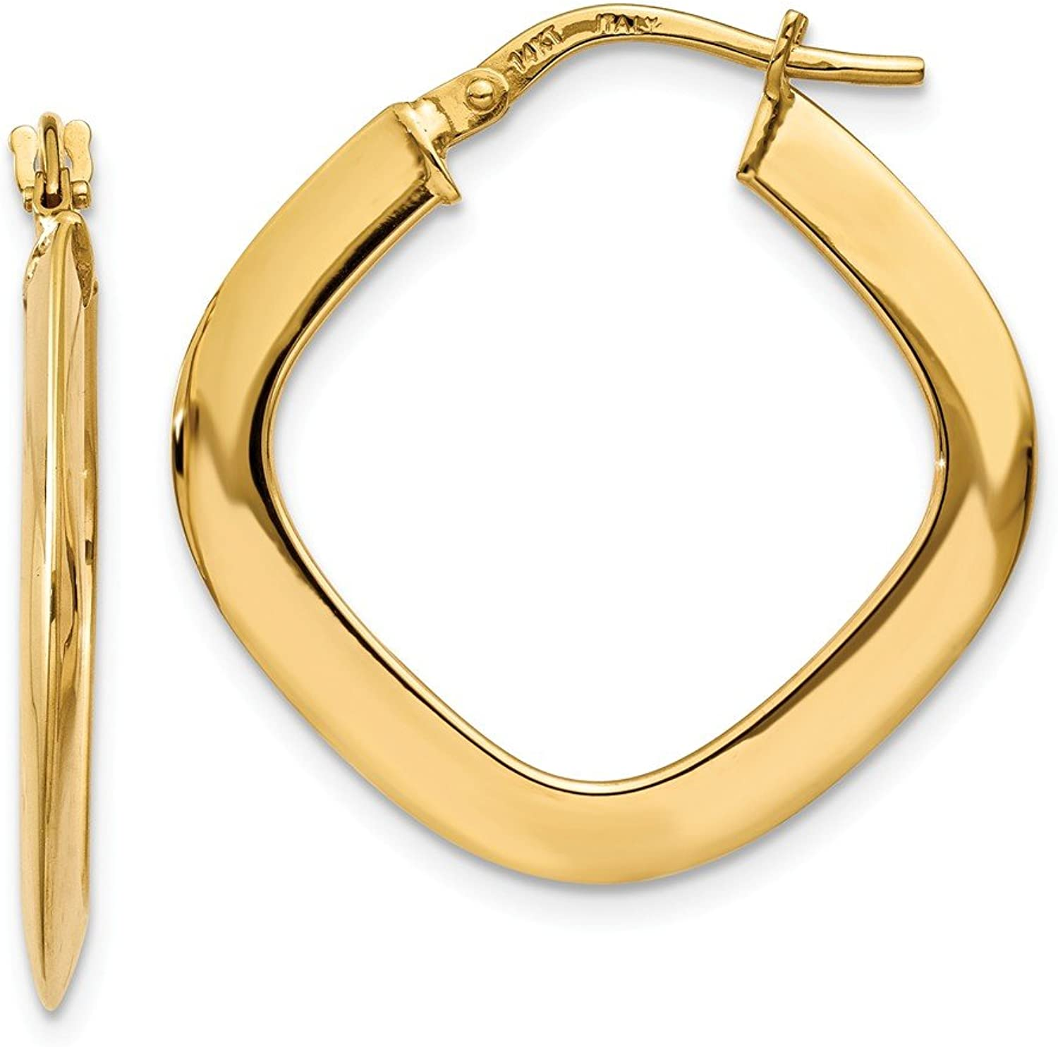 Beautiful Yellow gold 14K Yellowgold 14K Tapered Square Hoop Earrings