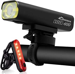 WASAGA Vella Series Bike Light Front and Back Bicycle Lights USB Headlight & Tail Lights for Commuters, Road Cyclists & Mountain Bikers