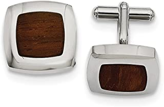 Saris and Things Stainless Steel Wood Inlay Cuff Links