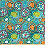 Lunarable Retro Fabric by The Yard, Bulls Eye Pattern Inspired Circular Shapes of Many Colors Abstract Art Illustration, Decorative Fabric for Upholstery and Home Accents, 2 Yards, Teal Green