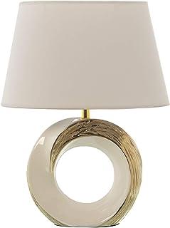 DRW Lámpara de Sobremesa de Cerámica con Pantalla en Blanco y Oro 32x20x42cm
