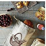 Leinen Brotbeutel – 3 Packungen 30x40cm Spezical Art Design Natur ungebleicht Leinen Wiederverwendbar,Lagerung von Lebensmitteln für hausgemachtes Brot - 2