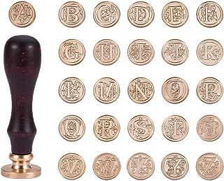 PH PandaHall 約26個/セット 75mm シーリングスタンプ 入れ替え シーリングワックス 木製ハンドル 真鍮 蝋封 印章 復古風 洋式の模様 手紙・レター・工芸プロジェクト・パーティー招待状 手作り DIY用 手芸用品 クラフト用品 ゴールデン