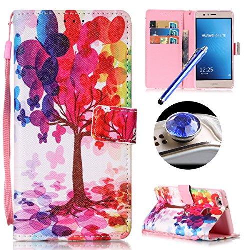 Etsue Coque en cuir pour Huawei P9 Lite,Mode Folio Portefeuille Pattern Housse de téléphone avec Corde pour Huawei P9 Lite,Coloré Retro Flip Book Style Motif Leather Wallet Case Cover avec Sont dotées de Moyens d'ouverture et de Fermeture pour Huawei P9 Lite +1 x Corde + 1 x Bleu stylet + 1 x Bling poussière plug (couleurs aléatoires)-Arbre coloré