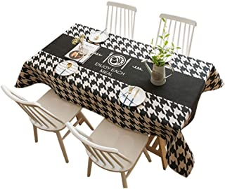 Jiaquhome Houndstooth Table Cloth Rectangular Black and White Plaid Tablecloth Coffee Table Cover Towel Decorative Fabric,Geometric,8585cm