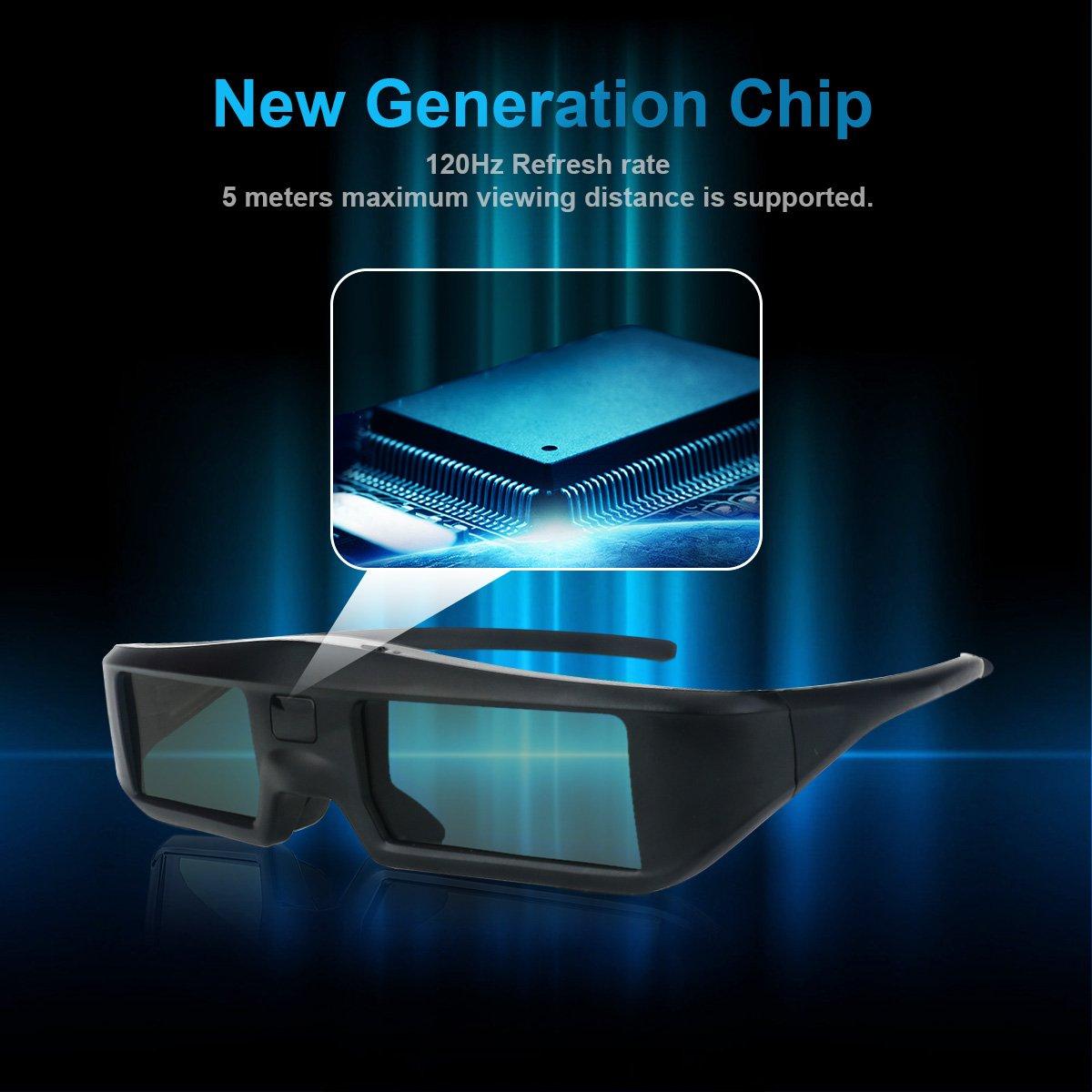 2 x Gafas 3D Bluetooth ExquizOn, Gafas 3D Universal 120Hz con Obturador Activo para 3D TV como LG/Sony/Panasonic/Sharp/Toshiba/Samsung y Epson 3D proyectores, Ultra-Clear HD, G06-BT: Amazon.es: Electrónica