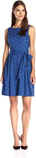 Anne Klein Women's Novelty Self Sash Eyelet Fit-and-Flare Dress