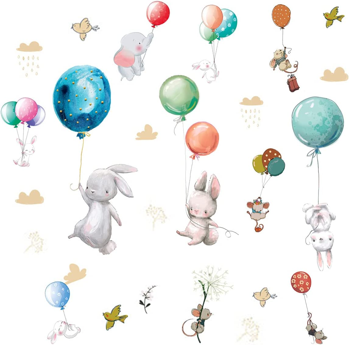 Colorful Balloon Flying Animals Wall Decals, Cute Elephant Rabbit Bird Wall Stickers, Removable Peel and Stick Cartoon Animal Neutral Vinyl Wall Decoration for Baby Boy Girl Bedroom - Hot Air Balloon