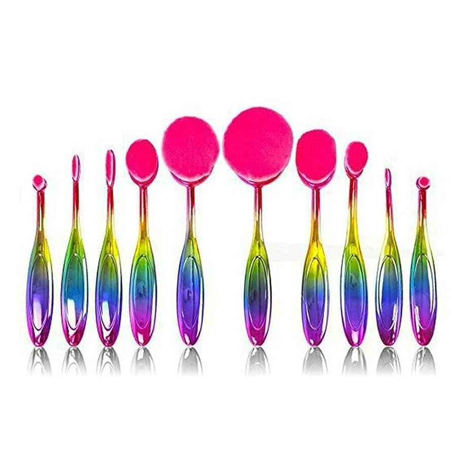 スリル絶縁する豊富なJIANYI 10個のまぶしい色の歯ブラシの化粧品のブラシのスーツの多数の構造のブラシ (サイズ : 10-piece)