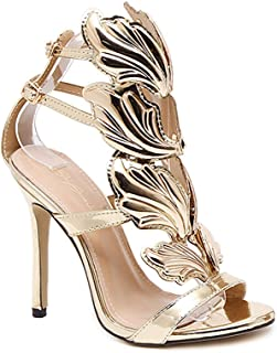 96d39fcbcc2bc CSDM Women Stiletto Heel Metal Wings High-Heeled Exposed Toe Sandals Gold  Nude Black