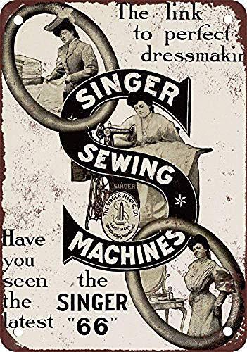 Letrero de metal de 20 x 30 cm, diseño de máquinas de coser Singer