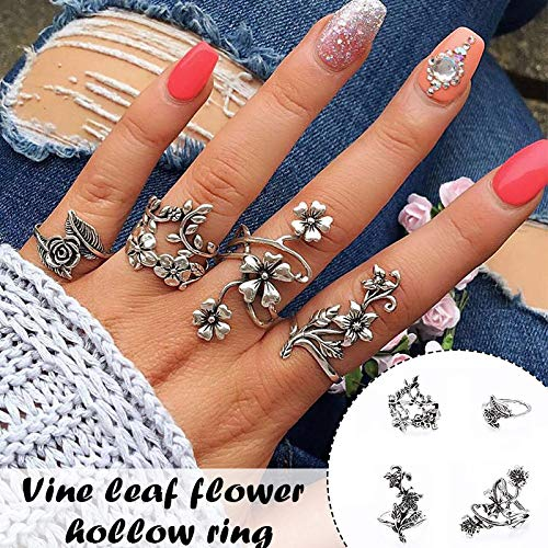 LEFUYAN Conjunto de anéis vintage de 4 peças, flor silvestre vazada com acabamento fino para mulheres, meninas, ótimo presente (liga, peças, ajustável)