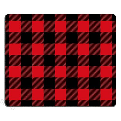 SSOIU Personalized Unique Design Oblong Shaped Mouse Pad Black and Red Buffalo Check Plaids