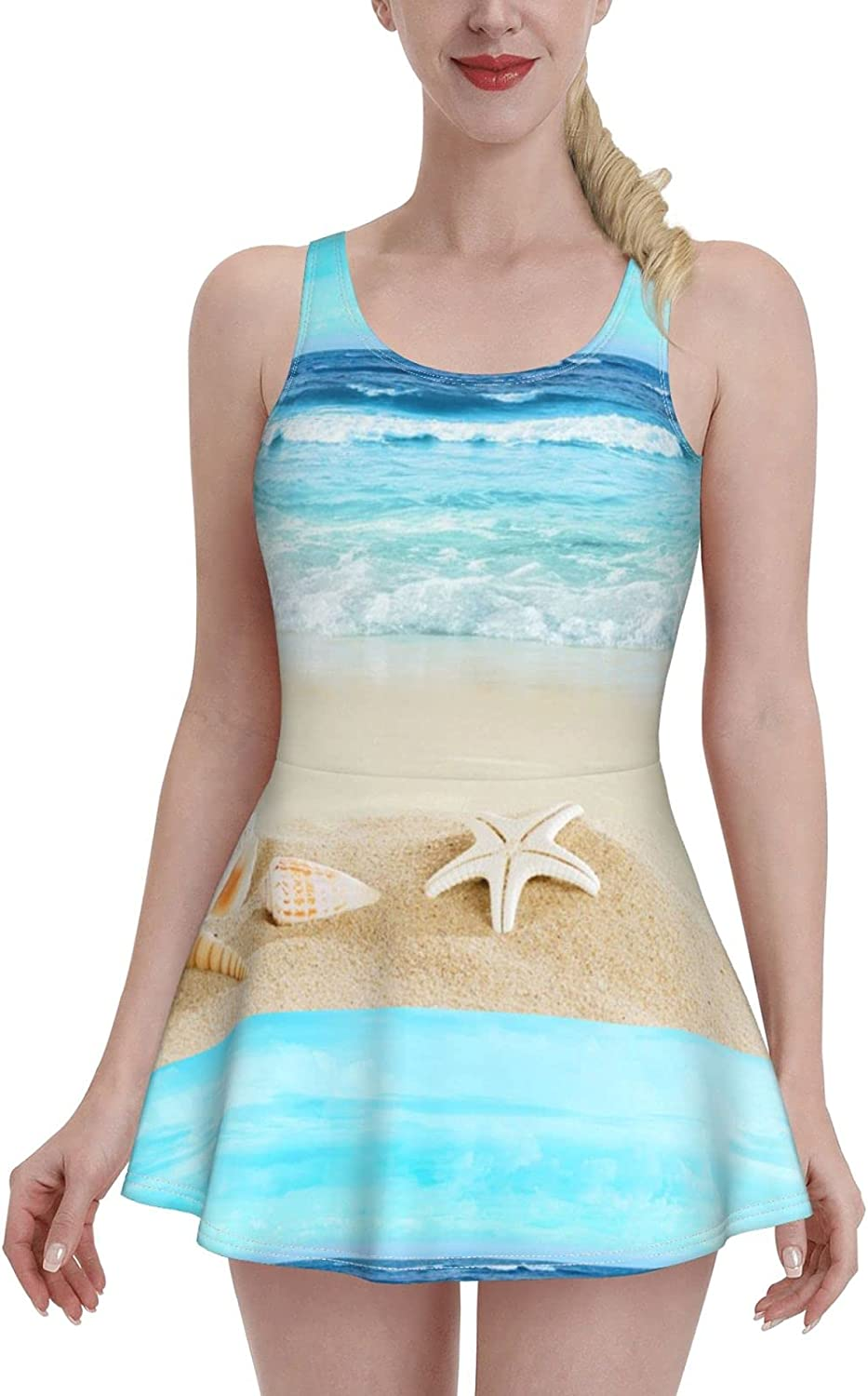 Summer Beach with Shells in Sand Blue Sky Swimdress Swimsuits for Women Tummy Contr