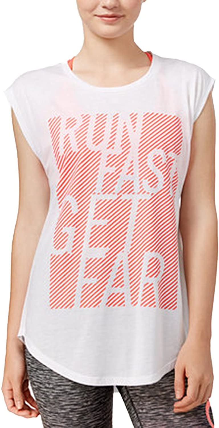 Energie Womens Graphic Perforated Muscle Tank White XS