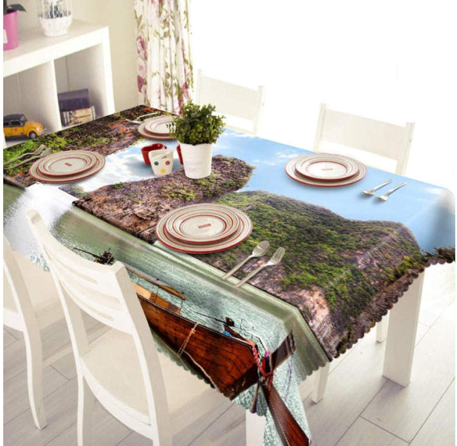 FFYSNN Paysage De Haute Montagne Naturel Motif Image 3D Nappe Party Home Décorsion Cuisine Rectangulaire Restaurant Rond Textile Ménage140x220cm