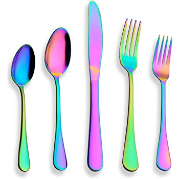 Berglander Flatware Set 20 Piece, Stainless Steel With Titanium Colorful Plated, Multicolor Flatware Set, Silverware, Rainbow Color Cutlery Set Service For 4