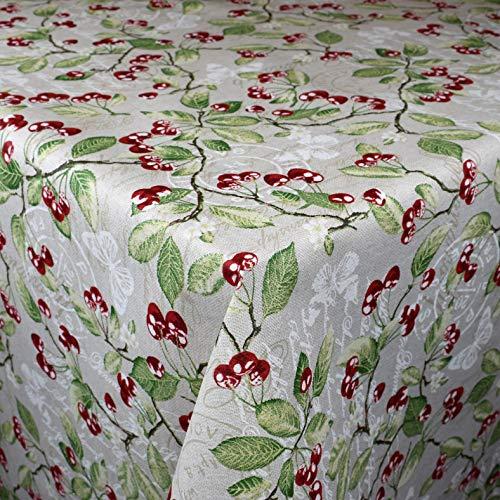 Kevks Jacquard tafelkleed katoen gecoat Navidad 14 kersen selecteerbaar in hoekig rond ovaal 140 x 180 cm oval multicolor