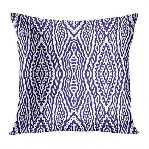 Ajckly Boho Pillow Case, Abstract White Stripes Dark Indigo Blue Batik Fantasy Ikat Album Tie Dye Throw Pillow Cover, Soft Print Cushion Cover Decor Pillowcase for Sofa Bed Car Chair, 20x20 Inch