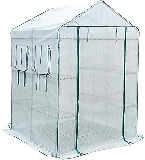 HAIPENG 温室 ビニール3層 ウォークイン 庭園 痩せる 成長 野菜 工場 カバー ポリカーボネート ポータブル コールドフレーム、 2サイズ、 3色 (色 : 白, サイズ さいず : 143x143x195cm)