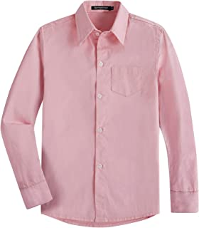 Spring&Gege Boys' Long Sleeve Solid Formal Cotton Twill Dress Shirts