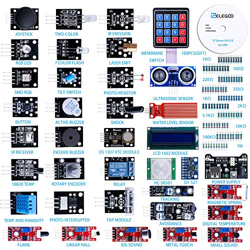 Elegoo Upgraded 37 in 1 Sensor Modules Kit with Tutorial for Arduino
