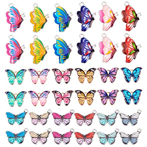 PandaHall 18 Stili Smalto Farfalla Ciondolo in Lega Stampata Fascino per orecchino Braccialetto Collana Gioielli Fai da Te Fabbricazione Artigianale, 3 Dimensioni 36pcs