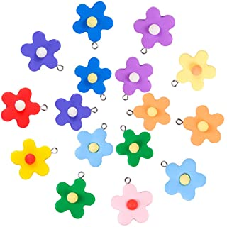 Colorful Flower Resin Pendant Charms, BENBO 40Pcs 10 Colors Flower Dangle Beads Pendants Keychain Necklace Floral Candy Ch...