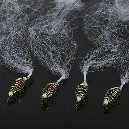 Yosoo Health Gear Fischködernetz mit leuchtenden Perlen, Kupferfedernetz für Nachtfischerei Shoal Outdoor-Aktivitäten(8#)