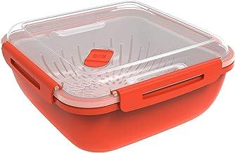 Rotho Memory Microwave, Vaporizador de 1.7 l con colador para microondas, Plástico PP sin BPA, rojo, transparente, 1.7l 19.5 x 19.5 x 9.1 cm