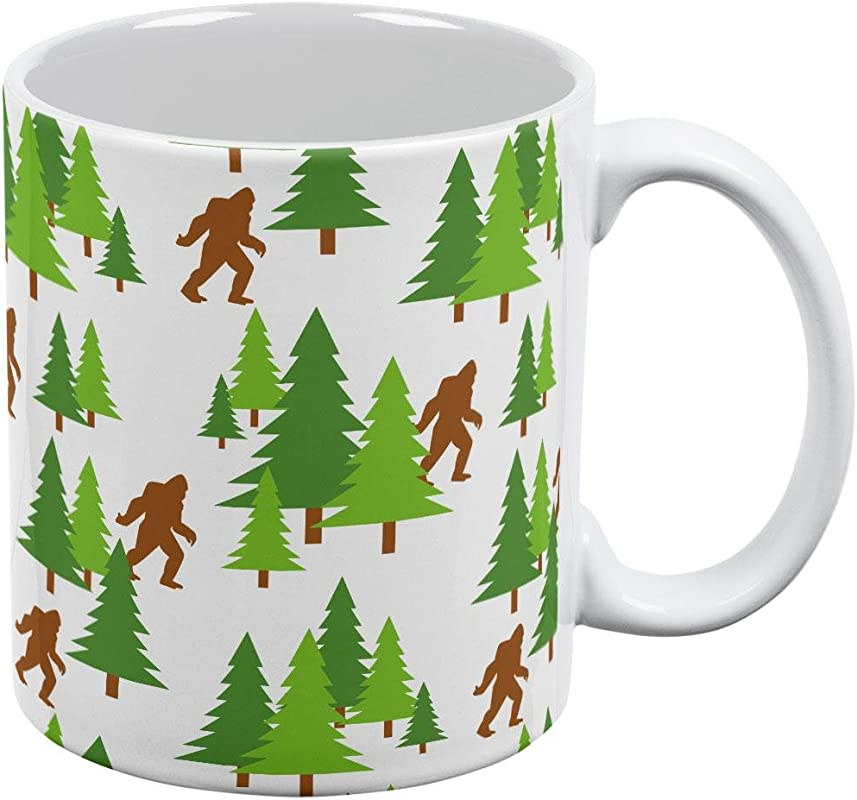 Sasquatch Bigfoot Woods Pattern All Over Coffee Mug White Standard One Size