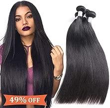 Prom Rosa Brazilian Virgin Hair Straight 7A Unprocessed Virgin Brazilian Human Hair Weave 4 Bundles Natural Black Remy Hair(22 24 26 28)