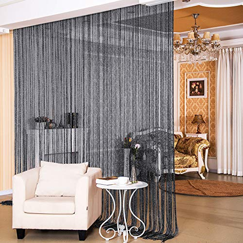 """Desirable Life Decorative Door String Curtains Wall Panel Tassels Blinds Room Divider for Wedding Party Restaurant Home (Black, 39.4"""" x78.7"""")"""