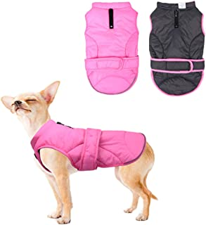 Vehomy Dog Down Coat Waterproof Windproof Reversible Dog Winter Coat Lightweight Warm Dog Jacket Reflective Dog Vest Coat Apparel Cold Weather Dog Clothes for Small Medium Large Dogs XS-XXXL