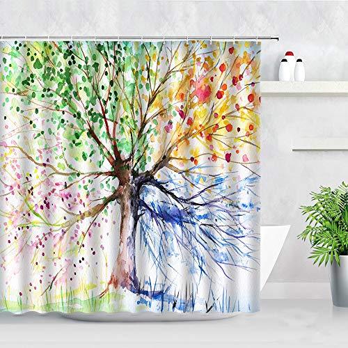 XCBN Impresión de Arte en Color Cuatro Estaciones Juego de Cortina de Ducha Estilo Acuarela árbol Impermeable decoración del hogar con Gancho A4 120x180cm