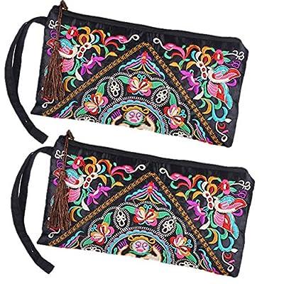 ETOSELL Lady Handbag Purse Handmade Nation Retro Embroidered Bag Wallets Zip Wristlets