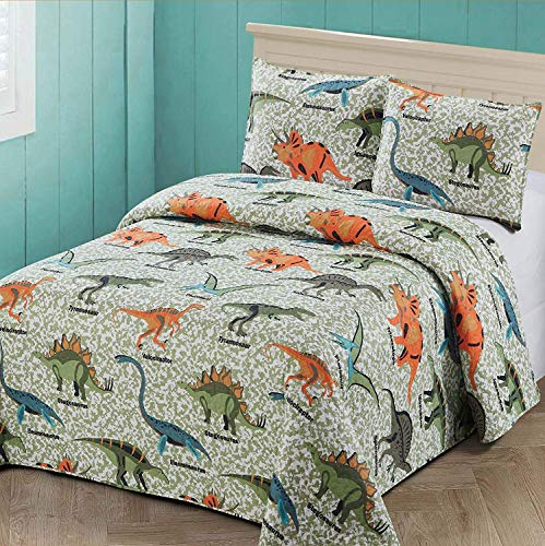 Luxury Home Collection 2 Piece Twin Size Coverlet Bedspread Quilt Set with Pillowcase Kids/Toddlers/Boys Multicolor Fun Design Camouflage Dinosaur Family Sage Green Blue Orange