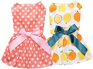 2 Pack of Elegant Ribbon Dog Dress, Fashion Dog Clothes Cotton Dogs Cats Onesie, Puppy Shirts Vest Pet Apparel for Small D...