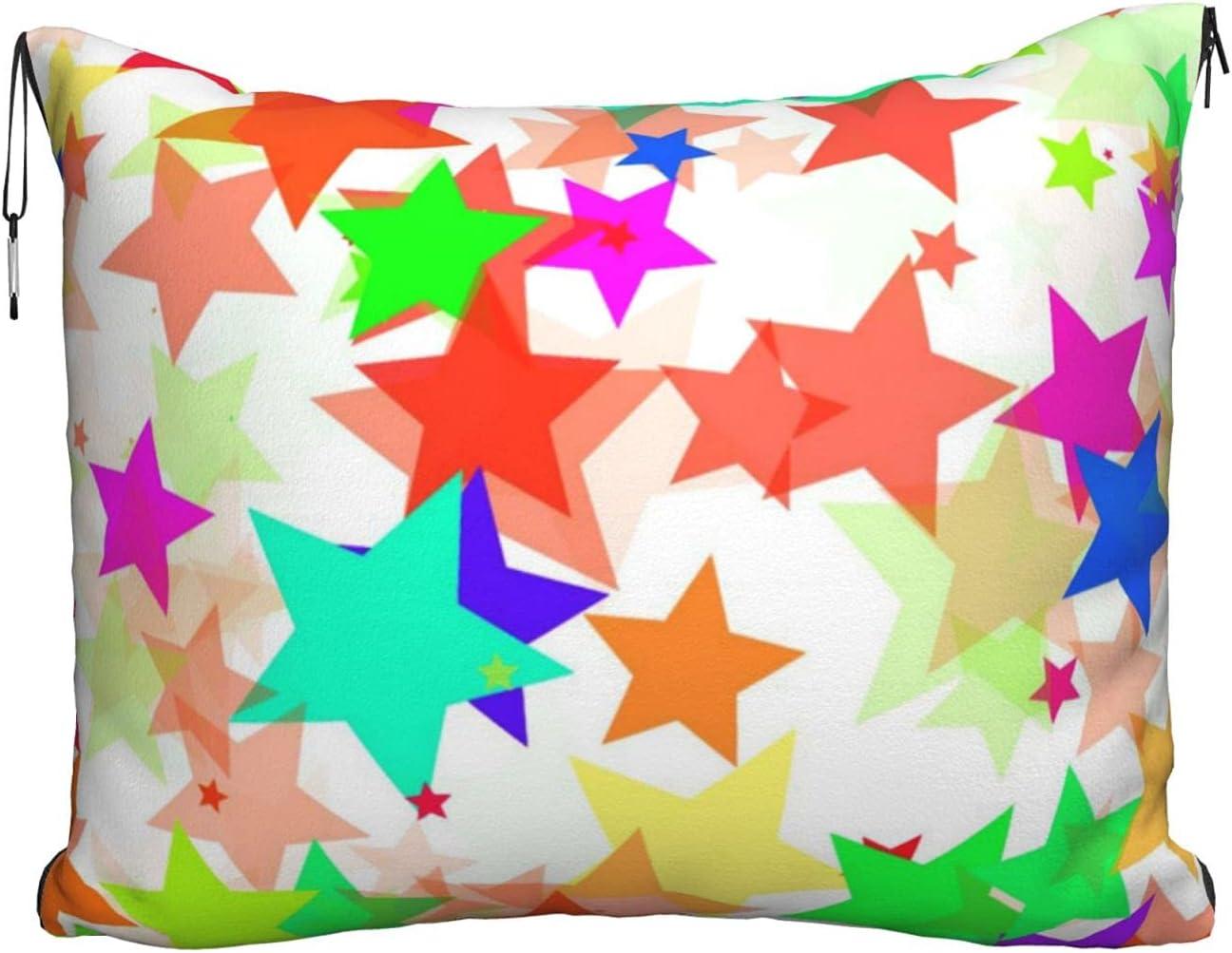 Mescchskcolorful Oakland Mall Star Print Travel Max 63% OFF Blanket Combo Pillow P