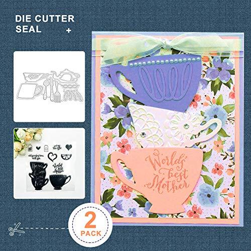 Feli546Bruce Schneide Stempel + Stempel, Teekanne Tasse Stanzstempel DIY Scrapbooking Papier Karte Album Schablonen Dekor