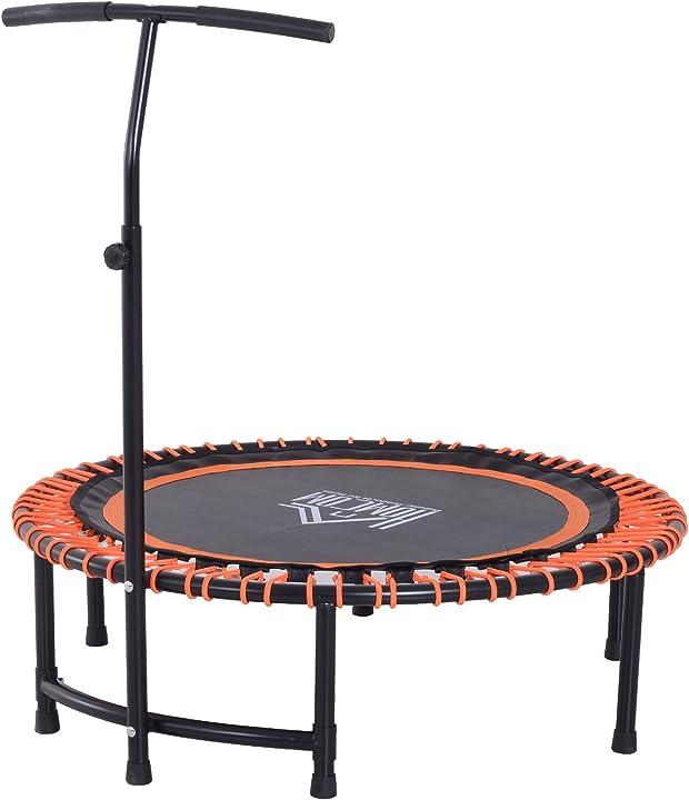 Trampolino elastico con maniglia di sostegno regolabile diametro 114cm carico massimo 100kg arancione homcom A93-039