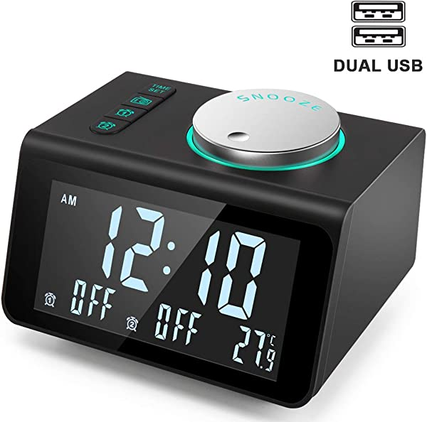 ANJANK Small Alarm Clock Radio FM Radio Dual USB Charging Ports Temperature Display Dual Alarms With 7 Alarm Sounds 5 Level Brightness Dimmer Headphone Jack Bedrooms Sleep Timer