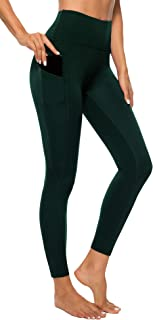 AUU High Waist Yoga Capris Leggings Yoga Pants Workout Running 4 Way Stretch Yoga Pants w/Pocket