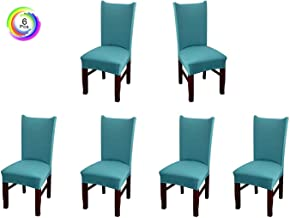 House of Quirk Elastic Chair Cover Stretch Removable Washable Short Dining Chair Cover Protector Seat Slipcover - Green (Pack of 6)